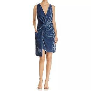 940 Kenneth Cole blue velvet faux wrap dress